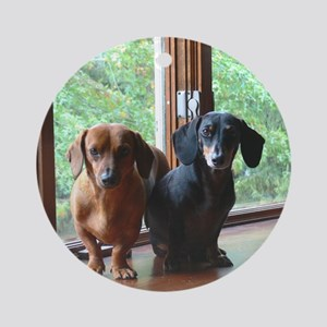 dasie and harley window seat Round Ornament