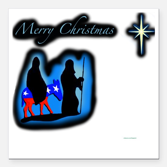 "mary merry chrstmas Square Car Magnet 3"" x 3"""