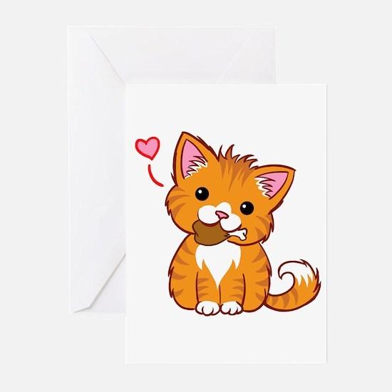 Orange Kitty Love Greeting Cards