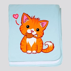 Orange Kitty Love baby blanket