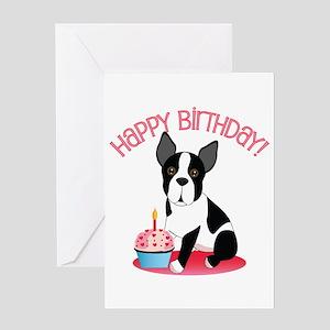 Happy Birthday Boston Terrier Greeting Cards