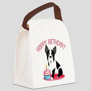 Happy Birthday Boston Terrier Canvas Lunch Bag