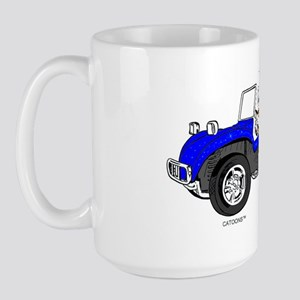 Dune Buggy Dark Lines in Color Blue Large Mug