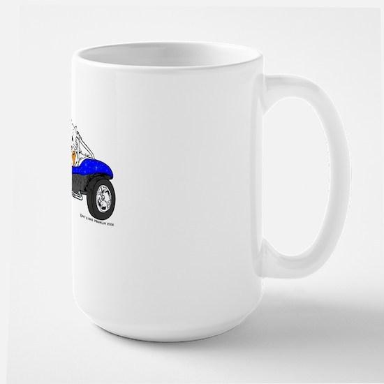 Dune Buggy Dark Lines in Color Blue Large Mug