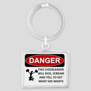 cheerleader kick scream yell Landscape Keychain
