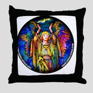 blue_round_tiffany_angel_white Throw Pillow