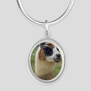 llama2_lp Silver Oval Necklace