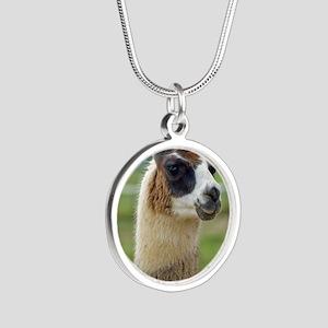 llama2_lp Silver Round Necklace