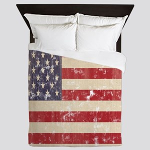 Vintage American Flag 3 Queen Duvet