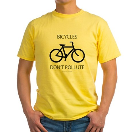 Bicycles-Dont-Pollute Yellow T-Shirt