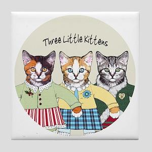 3 little kittens B - xmas ornament Tile Coaster