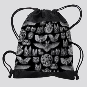 Vintage Bat Illustrations Drawstring Bag