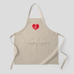 Kanji Love in Red Heart BBQ Apron