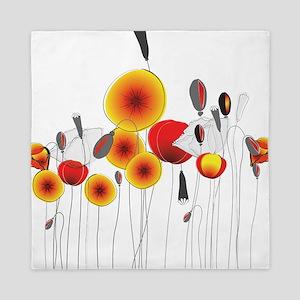 Contemporary California Poppies Queen Duvet