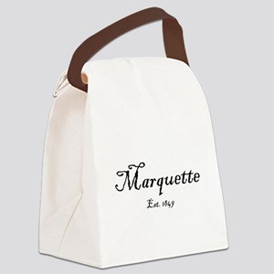 MqtEst.1871BlkTxt Canvas Lunch Bag