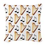 Cute Harp Music Design Woven Throw Pillow