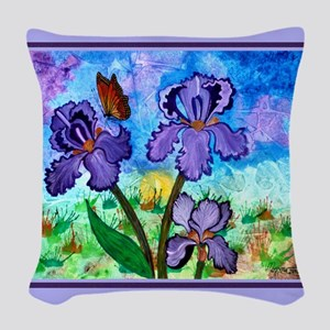 Iris At Sunrise Lavender Trim 14.25 Throw Pillow