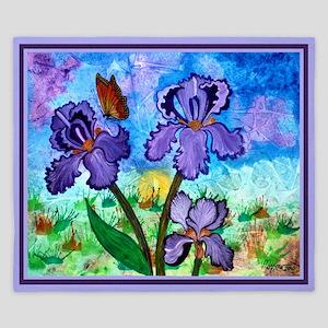 Iris At Sunrise Lavender Trim 104X88 King Duvet