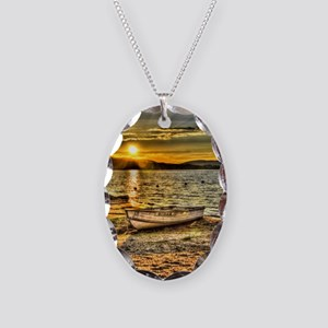 Sun Set Over The Lake Necklace Oval Charm