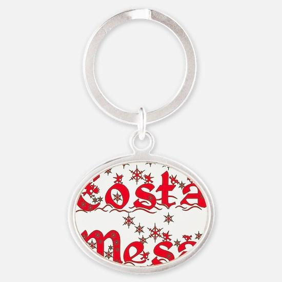 costa_mesa_xmas Oval Keychain
