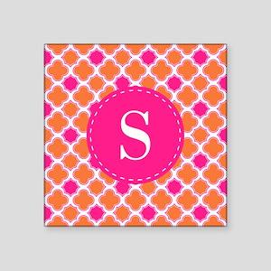 Quatrefoil Pattern Orange Hot Pink with Monogram S