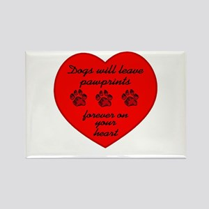 Pawprints On The Heart Rectangle Magnet