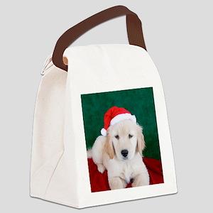 Golden Retriever Christmas Button Canvas Lunch Bag