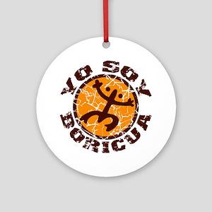 Yo Soy Boricua Brown-Orange Round Ornament