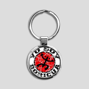 Yo Soy Boricua Black-Red Round Keychain