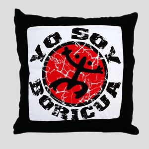 Yo Soy Boricua Black-Red Throw Pillow