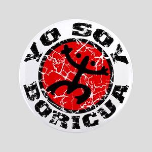 "Yo Soy Boricua Black-Red 3.5"" Button"
