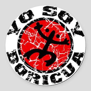 Yo Soy Boricua Black-Red Round Car Magnet