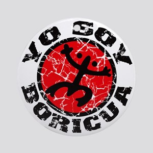 Yo Soy Boricua Black-Red Round Ornament
