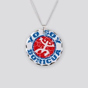 Yo Soy Boricua Blue-Red Necklace Circle Charm