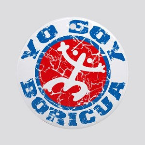 Yo Soy Boricua Blue-Red Round Ornament