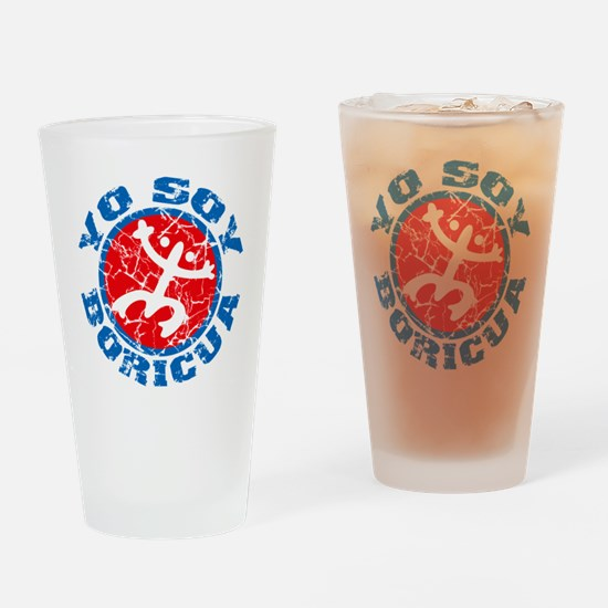 Yo Soy Boricua Blue-Red Drinking Glass