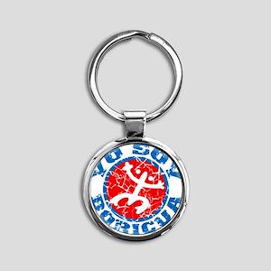 Yo Soy Boricua Blue-Red Round Keychain