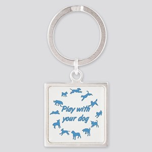 12Dogs_1_blue Square Keychain