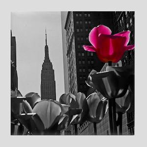 (15) NY Tulips  bw + Tile Coaster