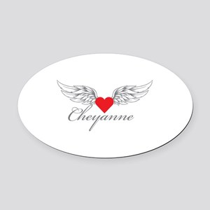 Angel Wings Cheyanne Oval Car Magnet