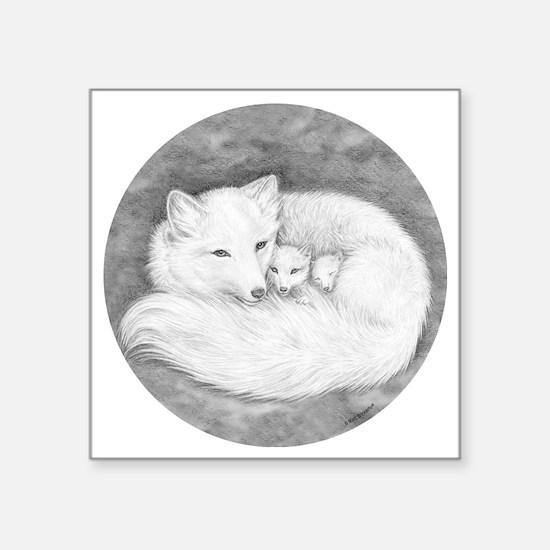 "Round Fox Family Square Sticker 3"" x 3"""