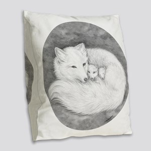 Round Fox Family Burlap Throw Pillow