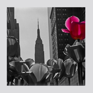 (12) NY Tulips  bw + Tile Coaster