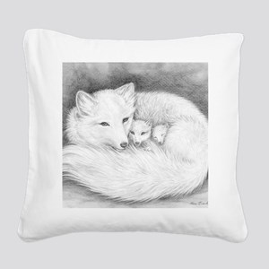 Fox family_Sign Square Canvas Pillow