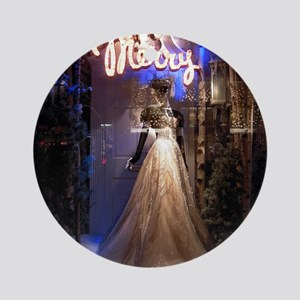 Merry Bergdorf window 10 by 10 Temp Round Ornament