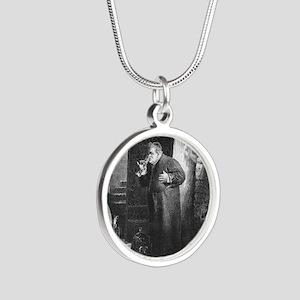 drunkmonk1 Silver Round Necklace