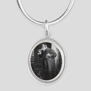 drunkmonk1 Silver Oval Necklace