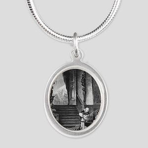 drunkmonk2C Silver Oval Necklace