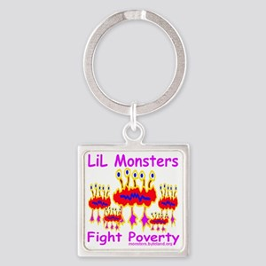 LiL_monsters_fight_poverty_red_tra Square Keychain