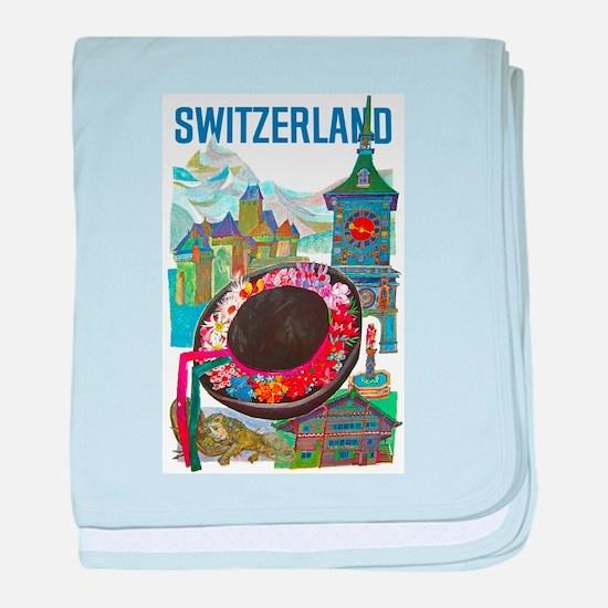 Vintage Switzerland Travel baby blanket